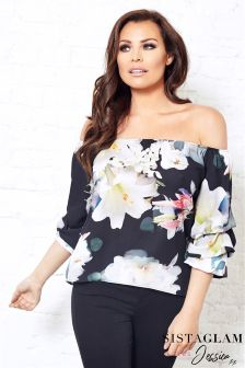 Jessica Wright Satin Floral Bardot Volume Sleeve Top