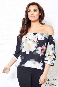 Sistaglam Loves Jessica Satin Floral Bardot Volume Sleeve Top