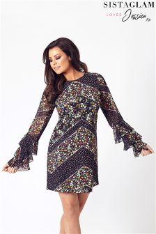 Jessica Wright Double Frill Sleeve Shift Dress