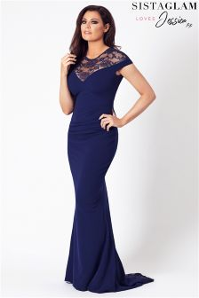 Jessica Wright Lace Panel Fishtail Maxi Dress