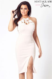 Jessica Wright Halter Neck Lace Midi Dress