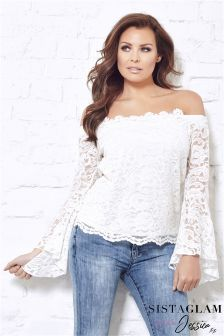 Jessica Wright Lace Bardot Top