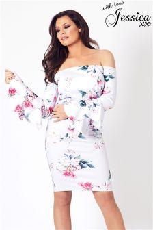 Jessica Wright Bardot Floral Print Midi Dress