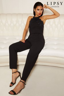 Lipsy Halter Neck Lace Top Jumpsuit