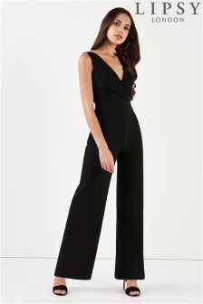 Lipsy Lace Insert V neck Jumpsuit