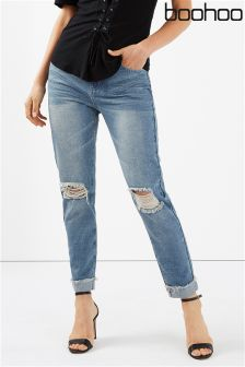 Boohoo High Waist Marbel Wash Mom Jeans