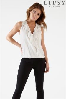 Lipsy Sleeveless Ruffle Wrap Blouse