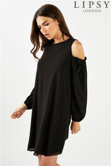 Lipsy Cold Shoulder Balloon Sleeve Dress