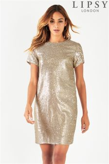 Lipsy Petite All Over Sequin Shift Dress