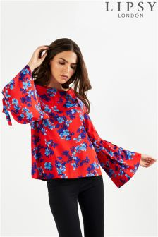 Lipsy Floral Printed Fluted Sleeve Blouse