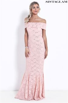 Sistaglam Bardot Sequin Lace Maxi Dress