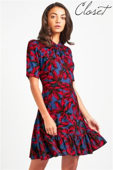 Closet Mandarin Collar Short Sleeve Frill Hem Dress