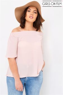 Girls On Film Curve Bardot Short Sleeve Top