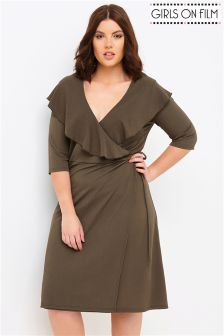 Girls On Film Curve Ruffle Wrap Dress