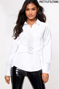 PrettyLittleThing Shirt With Hoop Detail Waist