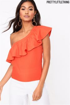 PrettyLittleThing Off The Shoulder Frill Top