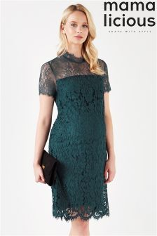 Mamalicious Maternity Short Sleeve Lace Midi Dress