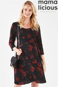 Mamalicious Maternity Long Sleeve Floral Jersey Dress
