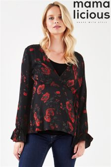 Mamalicious Maternity Long Sleeve Floral Nursing Blouse