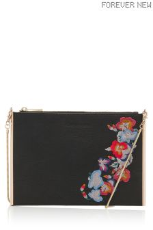 Forever New Lina Embroidered Zip Top Pouch
