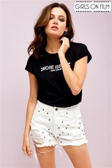 Girls On Film Studded Fray Hem Shorts