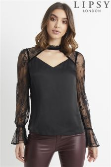 Lipsy Choker Lace And Velvet Blouse