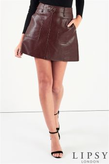 Lipsy Belted PU Mini Skirt