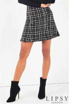 Lipsy Mono Boucle Frill Hem Mini Skirt