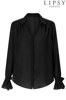 Lipsy Button Down Flute Sleeve Shirt
