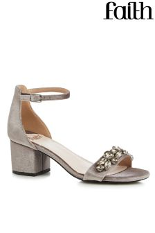 Faith Low Block Heel Bling Sandals