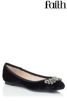 Faith Velvet Ballerina Pumps