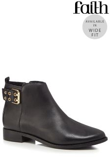 Faith Buckle Detail Wide Fit Ankle Boot