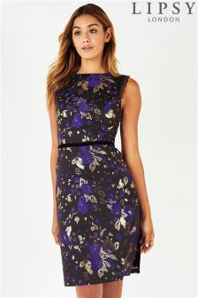 Lipsy Metallic Floral Print Jaqcuard Skater Dress