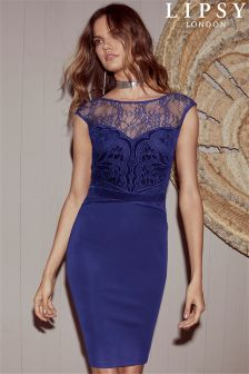 Lipsy Velvet Appliqué Artwork Bodycon Dress