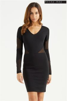 Noisy May Long Sleeve Mesh Bodycon Dress