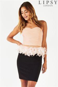 Lipsy Feather Waist Detail Peplum Dress