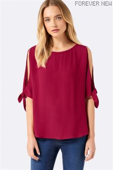 Forever New Lily Cold Shoulder Tie Sleeve Blouse