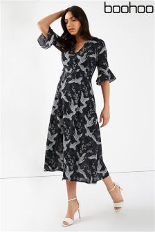 Boohoo Wrap Over Midi Dress