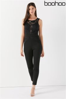Boohoo Lace Front Jumpsuit