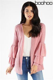 Boohoo Edge To Edge Ruffle Cardigan