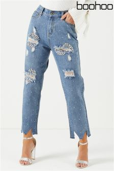 Boohoo High Rise Jewel Embellished Boyfriend Jeans