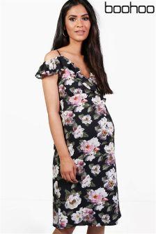 Boohoo Maternity Floral Print Cold Shoulder Midi Dress