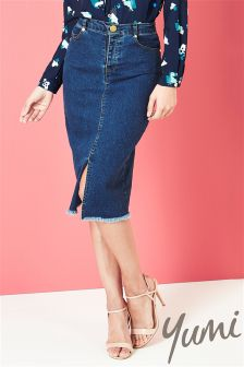 Yumi Stretch Denim Pencil Skirt