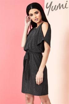 Yumi Sparkle Kimono Cold Shoulder Dress