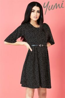 Yumi Polka Dot Pleated Dress