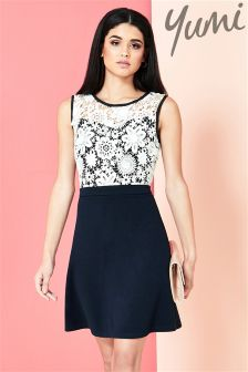 Yumi Guipure Lace Top Ponte Dress