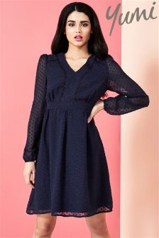 Yumi Dobby Spot Chiffon Dress