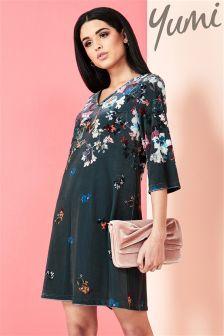 Yumi Digital Snowdrop Velvet Tunic Dress