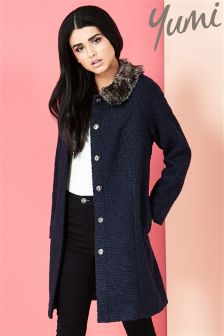 Yumi Coat With Detachable Faux Fur Collar