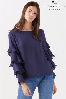 Angeleye Ruffle Sleeve Blouse